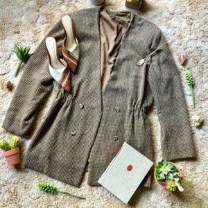 {Vintage} Fall Tweed Deep V Long Blazer Jacket, L